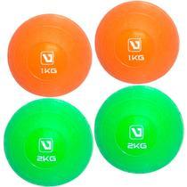 Kit 2 Bolas de Peso 1 Kg + 2 Bolas de Peso 2 Kg  Liveup -