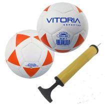 798efaeda kit 2 Bolas Futsal Vitoria Brx 40 Sub 7 (3 A 6 Anos) + Bomba Ar