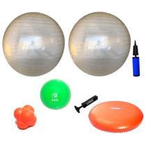 Kit 2 Bolas Suica 65cm + Disco de Equilibrio + Bola Peso 2kg + Bola de Tempo + 2 Bombas  Liveup -