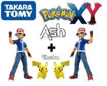 Kit 2 Bonecos Ash + 2 Pikachu - Pokémon Xy - Original Tomy -