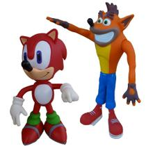 Kit 2 Bonecos Grandes 25cm Sonic vermelho E Crash Collection - Super Size Figure Collection