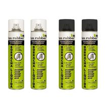 Kit 2 Borrachas Líquida em Spray Aerossol Hm Rubber 400 ml Branco e 2 Preto -