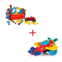 Kit 2 Brinquedos Caixa De Ferramentas + Avião Educativo - Poliplac