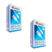 Kit 2 Cabos de Dados Carregadores Micro-Usb V8 Kingo 1 metro 2.1A - Branco -