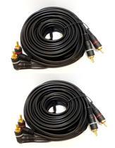 Kit 2 Cabos RCA 5 Metros Banhado para Módulo Amplificador - E-Tech