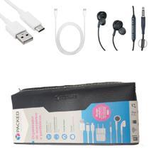 Kit 2 Cabos TIPO C Carga e Dados 1 fone de ouvido para celular plug P2 e 1 Estojo Organizador - Packed
