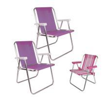 Kit 2 Cadeira Alta Alum Sannet Adulto + 1 Cadeira Infantil Alumínio - Mor -