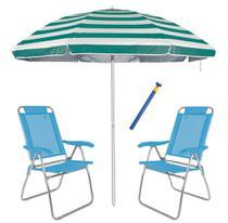 Kit 2 Cadeira Boreal Reclinável 3 Pos Alum + Guarda Sol 2,6m Alum + Saca Areia - Mor -