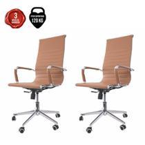 Kit 2 Cadeira De Escritório Presidente Executiva Charles Eames Eiffel Esteirinha Stripes Caramelo - Cadeiras Inc