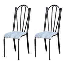Kit 2 Cadeiras 021 América Cromo Preto/Linho - Artefamol -