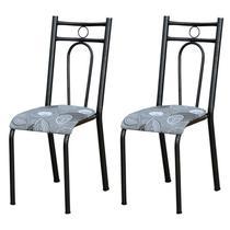 Kit 2 Cadeiras 023 América Cromo Preto/Pará - Artefamol -