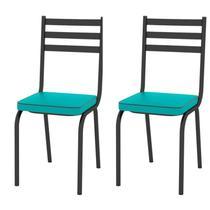 Kit 2 Cadeiras 118 Europa Preto/Azul Turquesa - Artefamol -