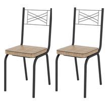 Kit 2 Cadeiras 119 Europa Preto/Rattan - Artefamol -