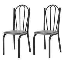 Kit 2 Cadeiras 121 Europa Preto/Platina - Artefamol -
