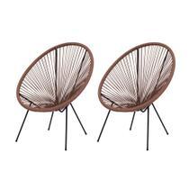 Kit 2 Cadeiras Acapulco Oval PVC Base FERRO Pintado Marrom - Waw Design
