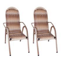 Kit 2 Cadeiras Adulto de Varanda / Área Luxo Junco Cappuccino - 6103