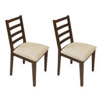 Kit 2 Cadeiras Almofadada De Madeira Marselha Imbuia - Palha - Nina Mobilia