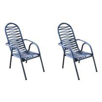 Kit 2 Cadeiras Area de Lazer Quintal Azul e Prata Adulto Luxo Colorida - Vinholi