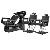 Kit 2 Cadeiras Barbeiro E 1 Lavatório Porcelana Cuba Preta Dompel Barbearia Profissional -