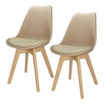Kit 2 Cadeiras Charles Eames Leda Design Wood Estofada Base Madeira Trato - Bege -