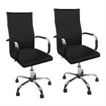 Kit 2 Cadeiras Charles Eames Presidente Esteirinha Estofada Couro Trato - Preto -