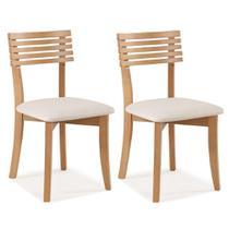 Kit 2 Cadeiras Clean Encosto Ripado e Assento Estofado - Bege Claro - Casatema