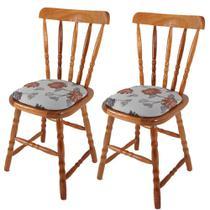 Kit 2 cadeiras country c/ estofado d16 - acabamento pu - madeira maciça tec 57 - natural - Casatema
