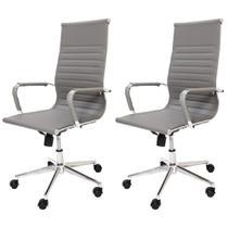 Kit 2 Cadeiras De Escritório Cinza Presidente Ergonômica Charles Eames Eiffel Stripes Esteirinha - Baba Shop