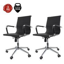 Kit 2 Cadeiras De Escritório Cliente Diretor Charles Eames Eiffel Esteirinha Stripes Branca - Baba Shop