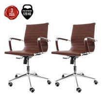 Kit 2 Cadeiras De Escritório Diretor Secretária Charles Eames Eiffel Esteirinha Stripes Marrom - Baba Shop