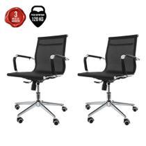 Kit 2 Cadeiras De Escritório Diretor Secretária Charles Eames Eiffel Stripes Esteirinha Mesh-Pretas - Baba Shop