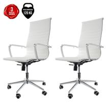 Kit 2 Cadeiras De Escritório Presidente Charles Eames Eiffel Branca - Cadeiras Inc