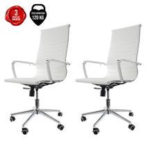 Kit 2 Cadeiras De Escritório Presidente Ergonômica Charles Eames Eiffel Stripes Esteirinha Branca - Baba Shop