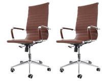 Kit 2 Cadeiras De Escritório Presidente Ergonômica Charles Eames Eiffel Stripes Esteirinha Marrom - Cadeiras Inc
