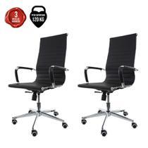 Kit 2 Cadeiras De Escritório Presidente Executiva Charles Eames Eiffel Esteirinha Stripes Preta - Cadeiras Inc