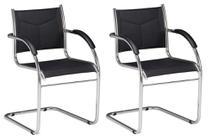 Kit 2 cadeiras Interlocutor Croma Couro Ecológico base fixa cromada - Sentare