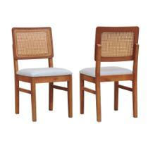 Kit 2 Cadeiras Lyon Assento Estofado Encosto Telinha - Amêndoa/Natural - Decorise