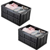 Kit 2 Caixa Organizadora Dobrável Plástica Multiuso Empilhável para Compras Mercado Arthi 1597 Cor Preta -