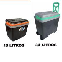 Kit 2 Caixas Cooler Térmica Com Rodinha - 16 E 34 Litros - Antares