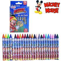 Kit 2 caixas de giz de cera com 24 cores revestidos e personalizados mickey - ETIPEL