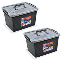Kit 2 Caixas Organizadoras 35 Litros PRETA 25166 Arqplast -