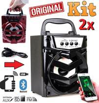 Kit 2 Caixinhas Caixas Som Portátil Sem Fio Bluetooth Celular Rádio Fm Usb Pen Drive Mp3 Entrada Cartão Sd Amplificada - Leffa Shop