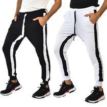 Kit 2 Calças Brohood Moletom Jogger Skinny Masculina Preta e Branca -