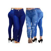 Kit 2 Calças Feminina Jeans Cintura Alta Empina Bum Bum Estilo Country - Meimi
