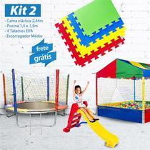 KIT 2 - Cama Elástica 2,44m +  Piscina 1,5m com 1.500 Bolinhas + 4 Tatames EVA + Escorregador Médio - Lacuca Brinquedos
