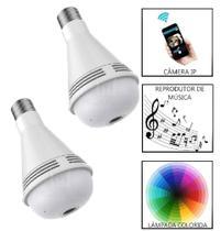 kit 2 camera espia Wifi Lampada 360 3 Em 1 Música Led - Luatek