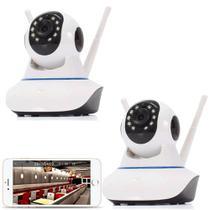 Kit 2 Câmera Ptz Ip 1.3mp 720p Hd Wireless Wifi Áudio Sd P2p - Jortan
