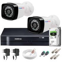 Kit 2 Câmeras 20m Infravermelho 1mp HD 720p + DVR Intelbras + HD 1 TB + App de Monitoramento -