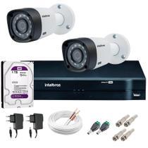 Kit 2 Câmeras de Segurança 20m Infravermelho HD 720p VHD 1120B G5 + DVR Intelbras + HD WD Purple 1TB -