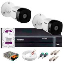 Kit 2 Câmeras de Segurança 20m Infravermelho HD 720p VHD 3120B G5 + DVR Intelbras + HD WD Purple 1TB -